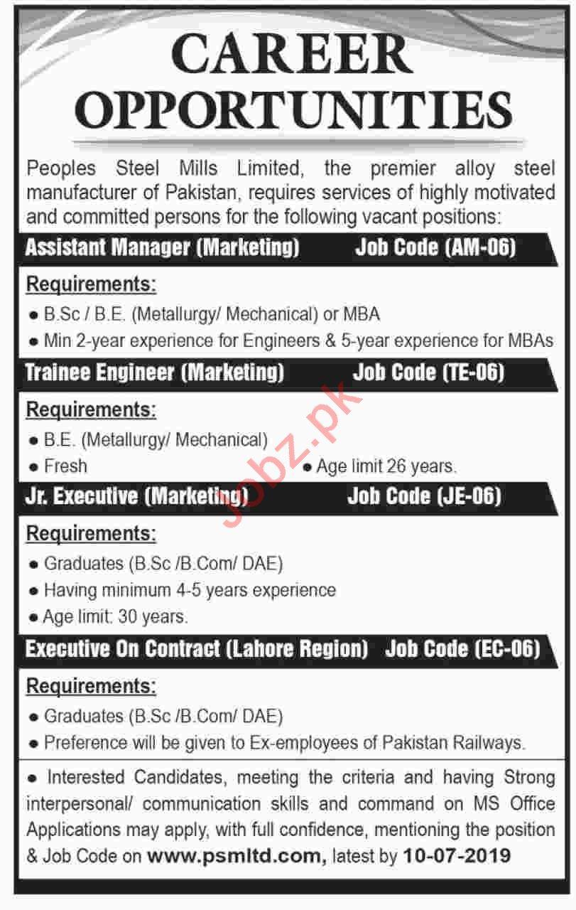 Peoples Steel Mills PSM Jobs 2019 in Karachi