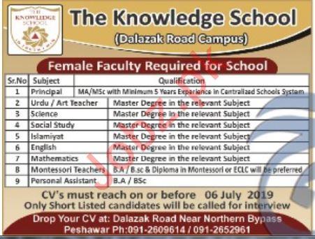 The Knowledge School Dalazak Road Campus Faculty Jobs 2019