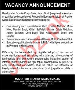 Headquarter Frontier Corps Balochistan Jobs 2019
