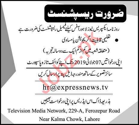 Express News Office Receptionist Job in Lahore