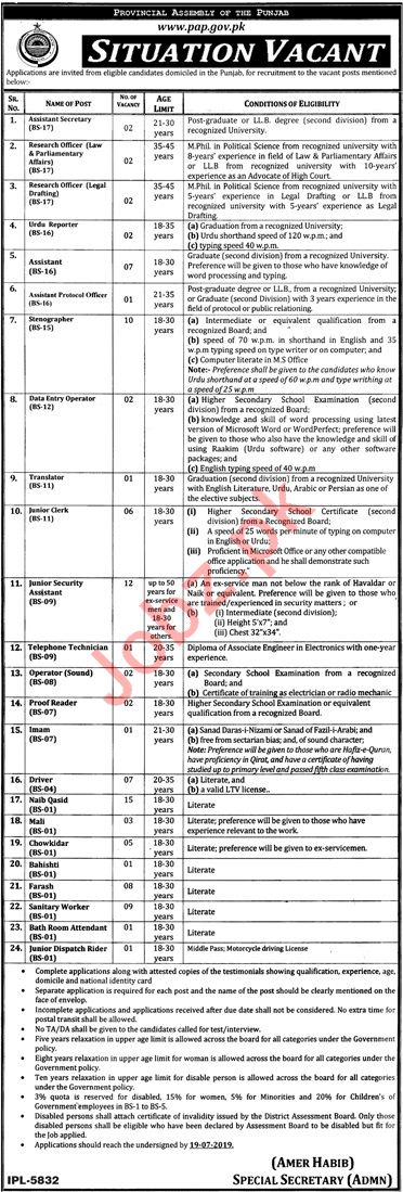 Provincial Assembly Of The Punjab Lahore Jobs 2019