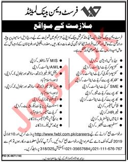First Woman Bank Limited FWBL Karachi Jobs 2019