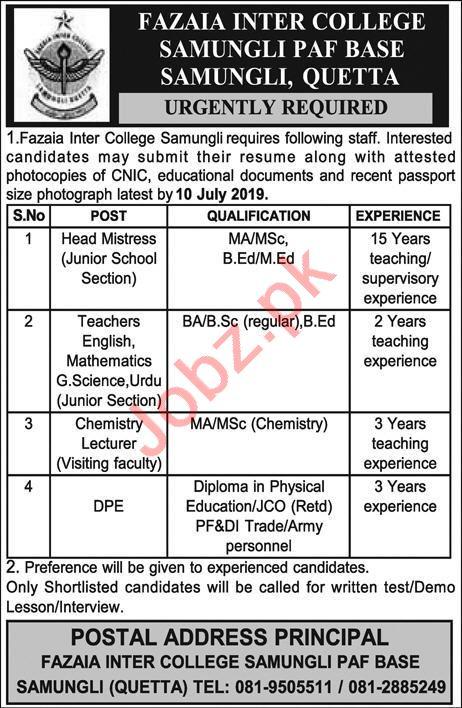 Fazaia Inter College Jobs 2019 in Quetta