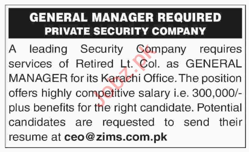 General Manager Job in Karachi