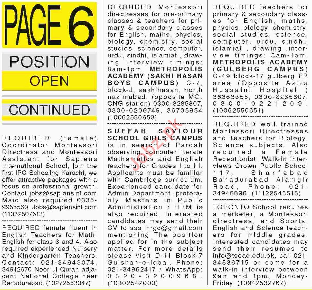 Daily Dawn Sunday Newspaper Teachers Jobs in Karachi