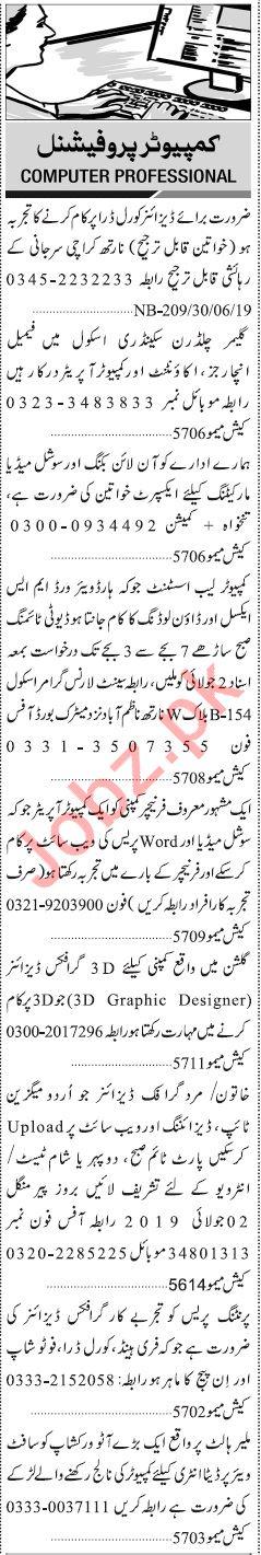 Computer Professional Jobs 2019 in Karachi