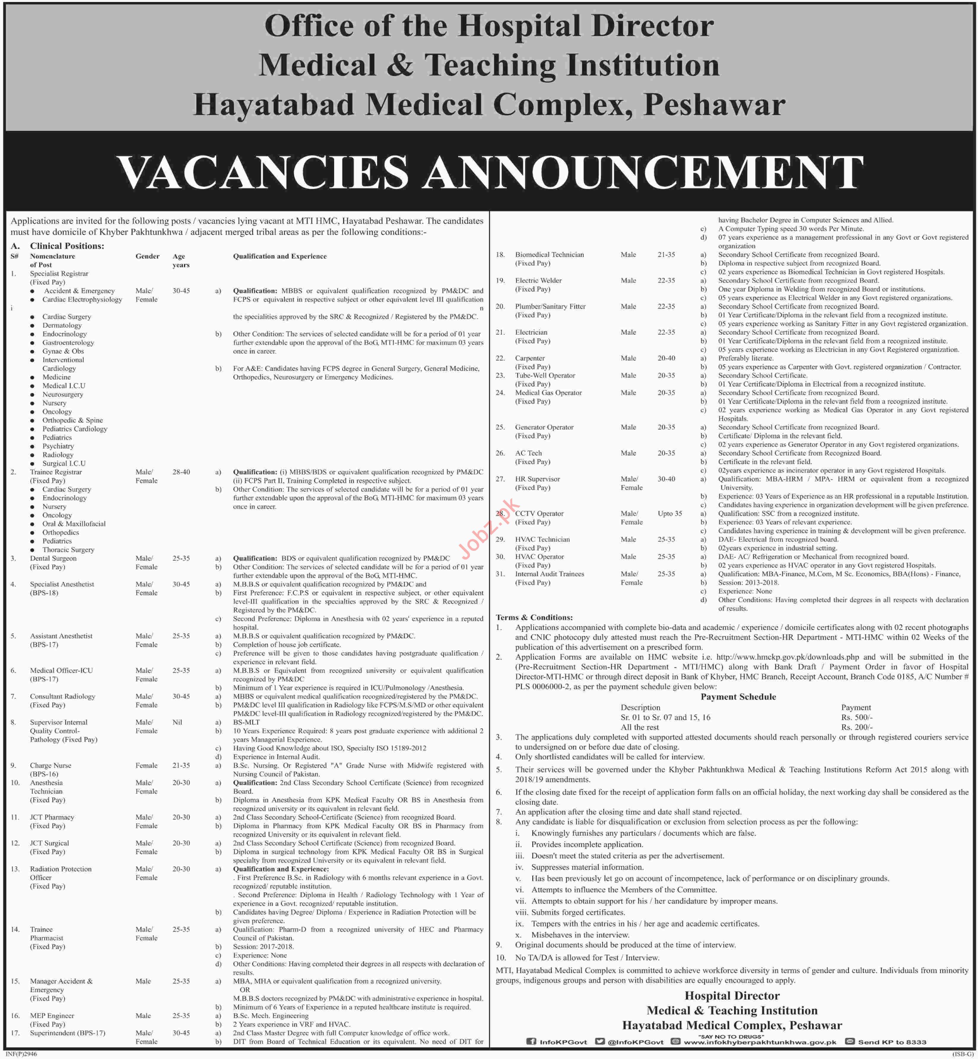 Hayatabad Medical Complex HMC Peshawar Jobs 2019