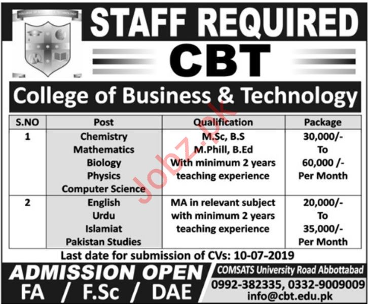 CBT College of Business & Technology Faculty Jobs 2019