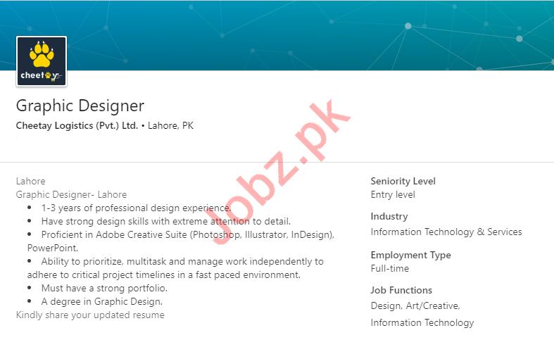 Cheetay Logistics Lahore Jobs 2019 for Graphic Designer
