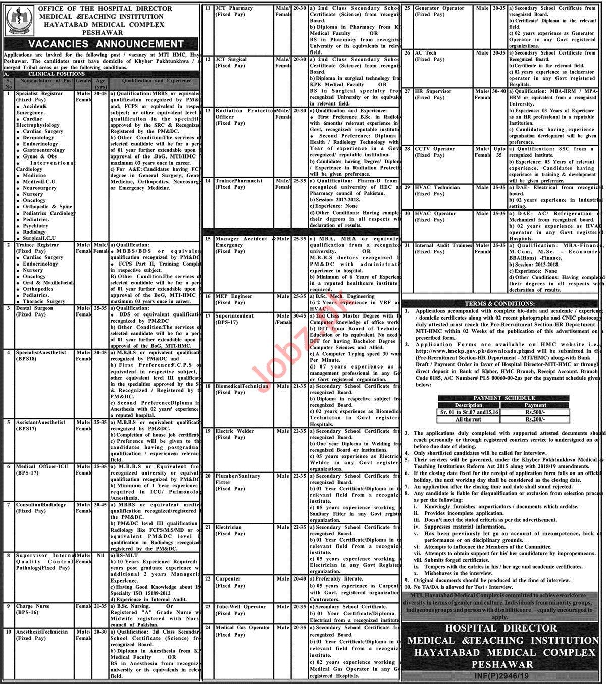 Medical & Teaching Institution MTI Jobs 2019 in Peshawar KPK