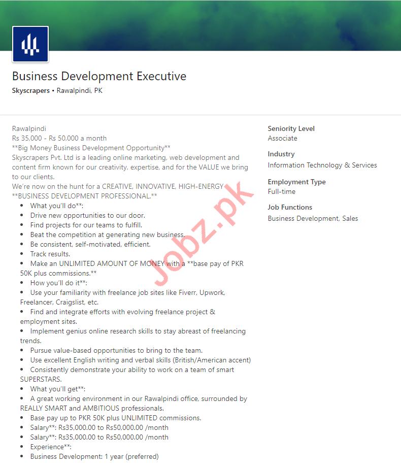 Skyscrapers Rawalpindi Jobs Business Development Executive