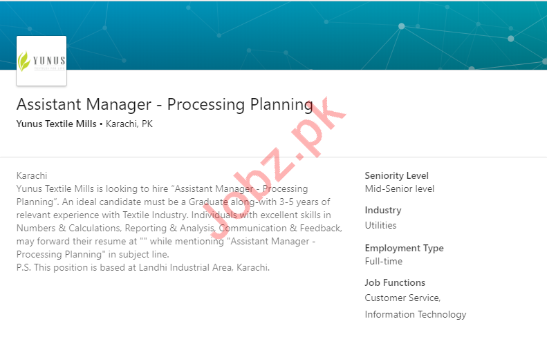Yunus Textile Mills Karachi Jobs for Assistant Manager