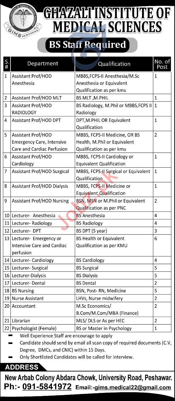 Ghazali Institute of Medical Sciences Jobs 2019