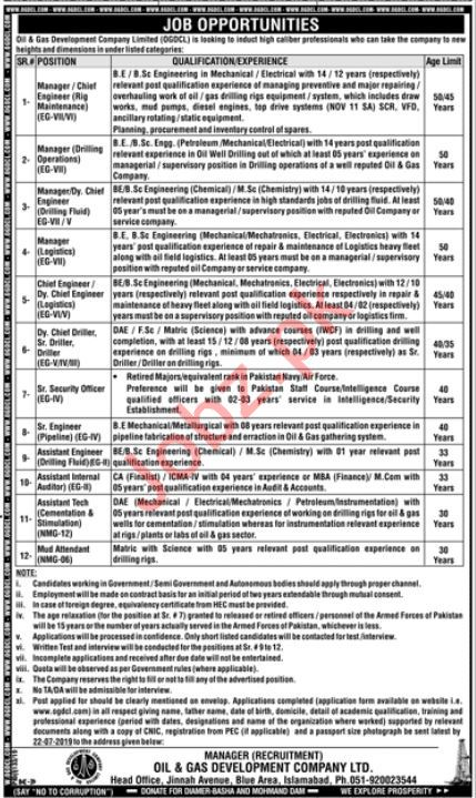 OGDCl Oil & Gas Development Company Limited Isd Jobs 2019