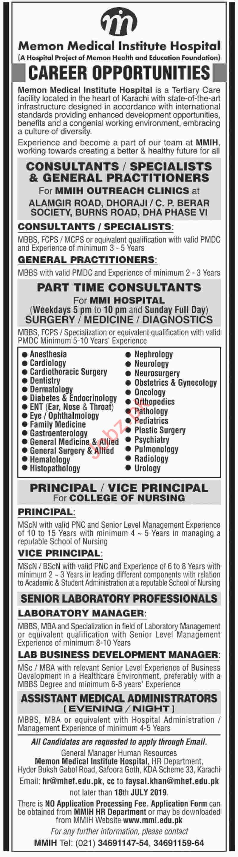 Memon Medical Institute Hospital Jobs 2019