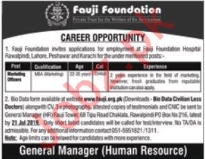 Fauji Foundation Hospital Job 2019 For Marketing Officers