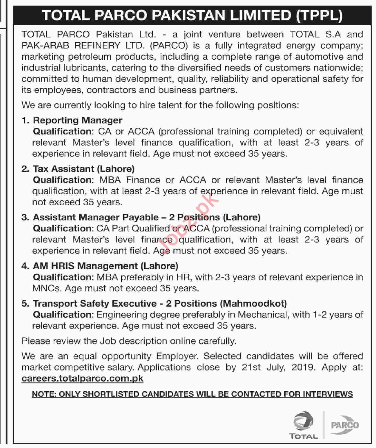 Total PARCO Pakistan Limited TPPL Jobs 2019 For Lahore