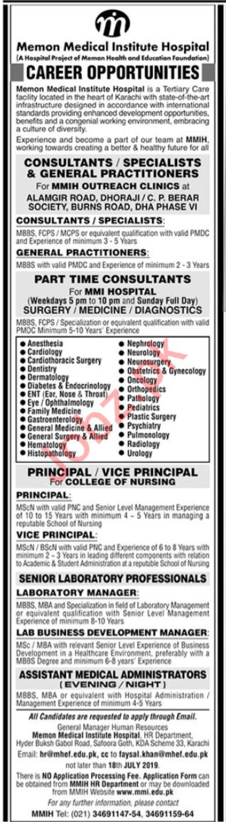 Memon Medical Institute Hospital Jobs 2019 For Karachi