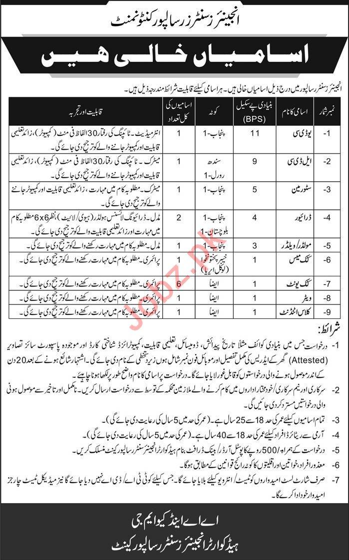 Pak Army Engineers Centre Risalpur Cantonment Jobs 2019