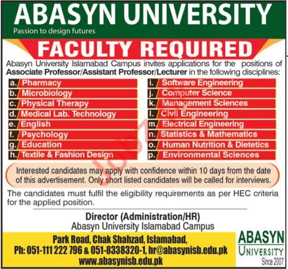 Abasyn University Islamabad Campus Jobs 2019
