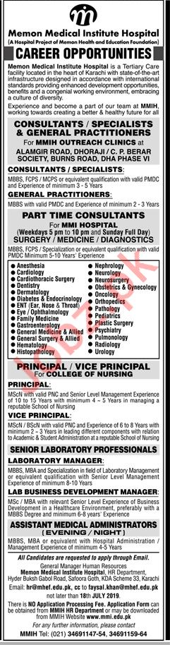 Memon Medical Institute Hospital Jobs 2019 In Karachi