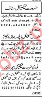 Nawaiwaqt Sunday Classified Ads 7th July 2019 for Technical