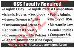 CSS Faculty Jobs 2019 in Lahore