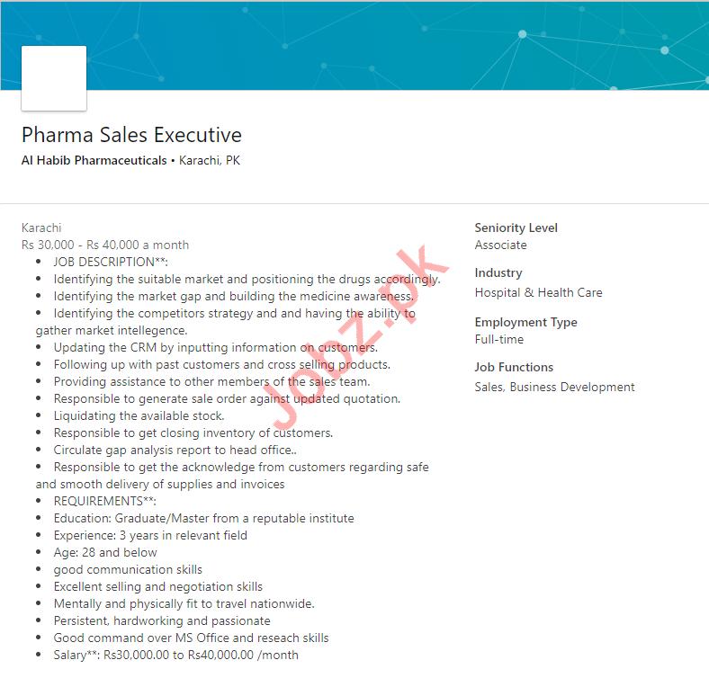 Al Habib Pharmaceuticals Karachi Jobs Pharma Sales Executive