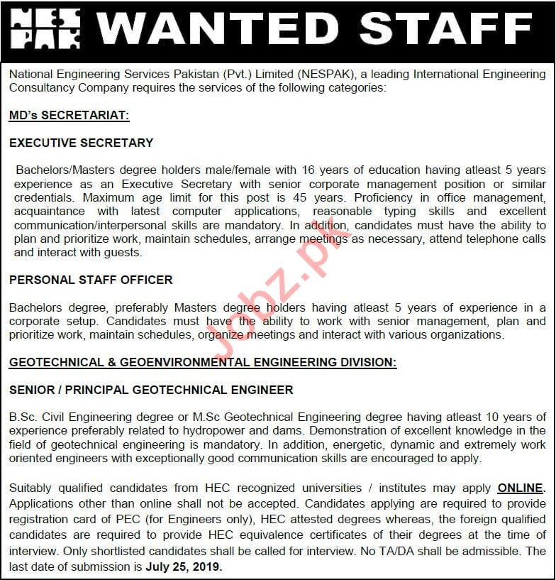 NESPAK Jobs 2019 in Lahore