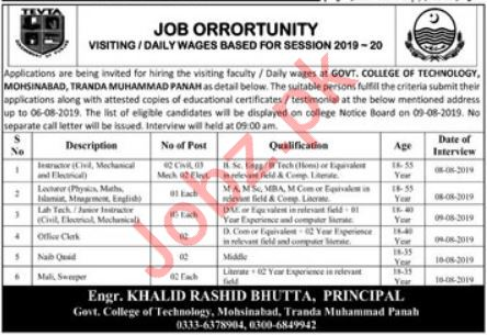 TEVTA Government College of Technology Jobs 2019