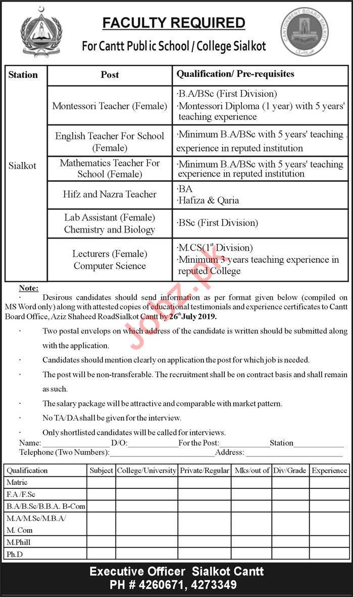 Cantt Public School & College Sialkot Jobs 2019