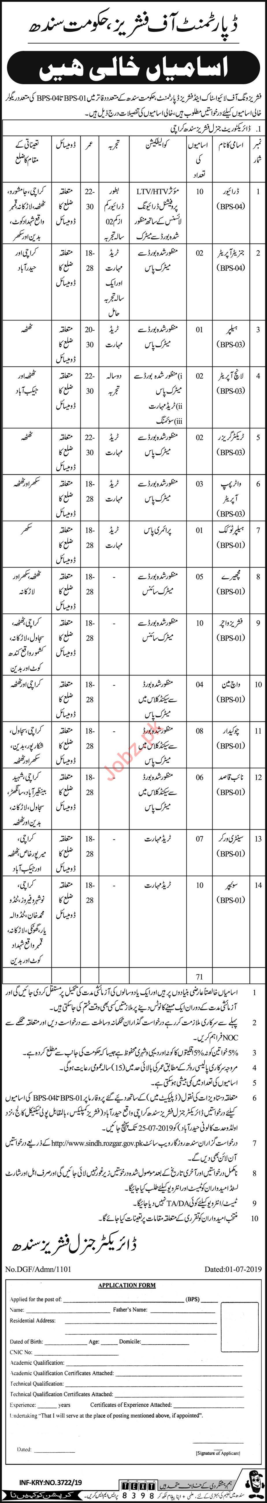 Department Of Fishers Karachi Jobs 2019