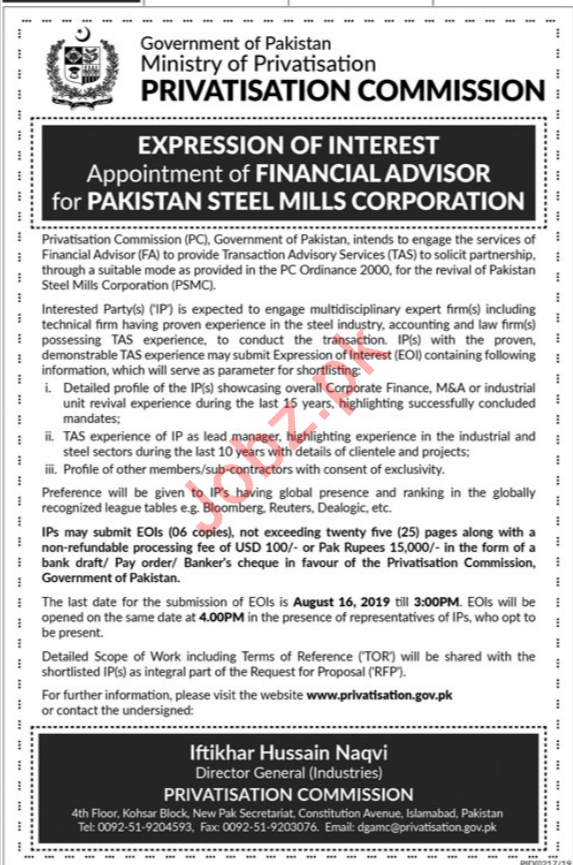 Pakistan Steel Mills Corporation Job For Financial Advisor