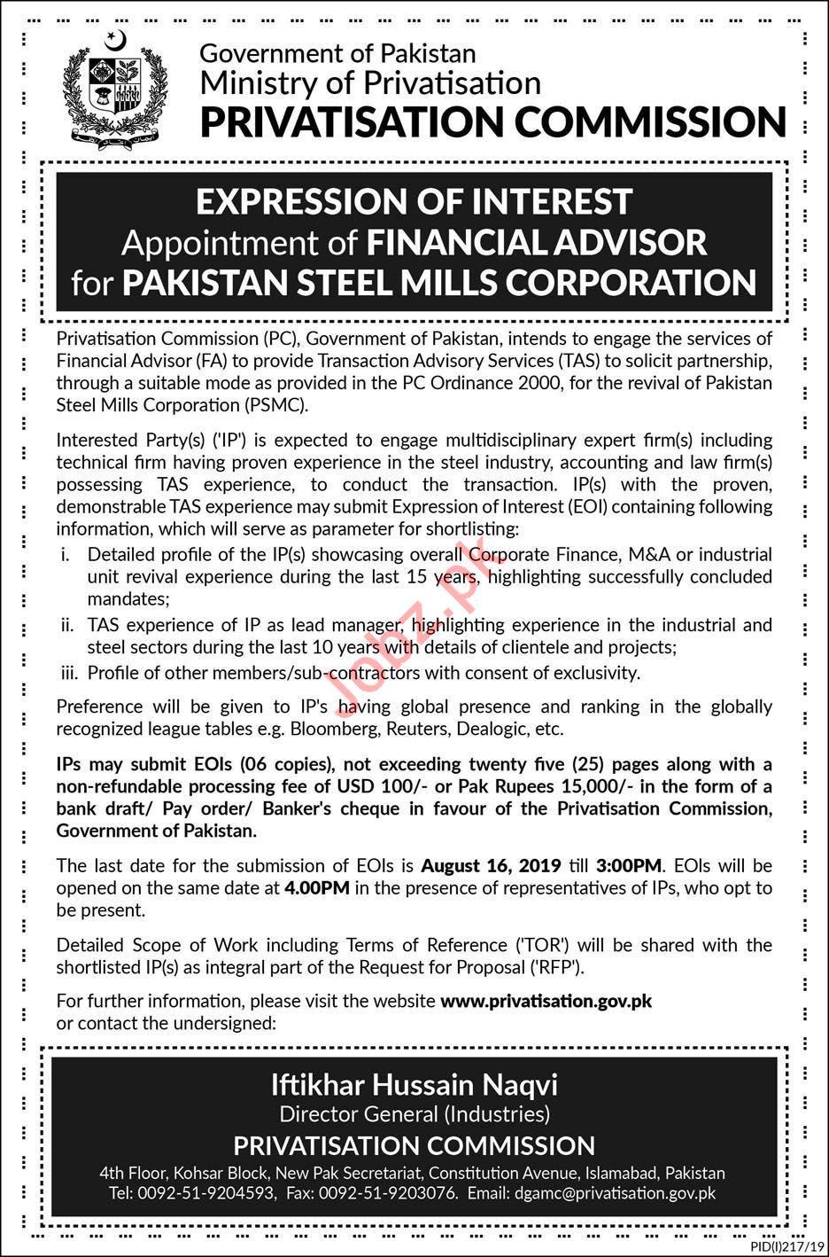 Privatisation Commission Job 2019 For Financial Advisor