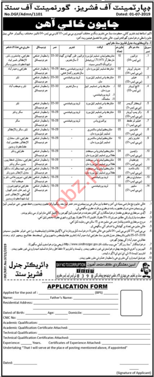 Department of Fisheries Jobs 2019 in Karachi