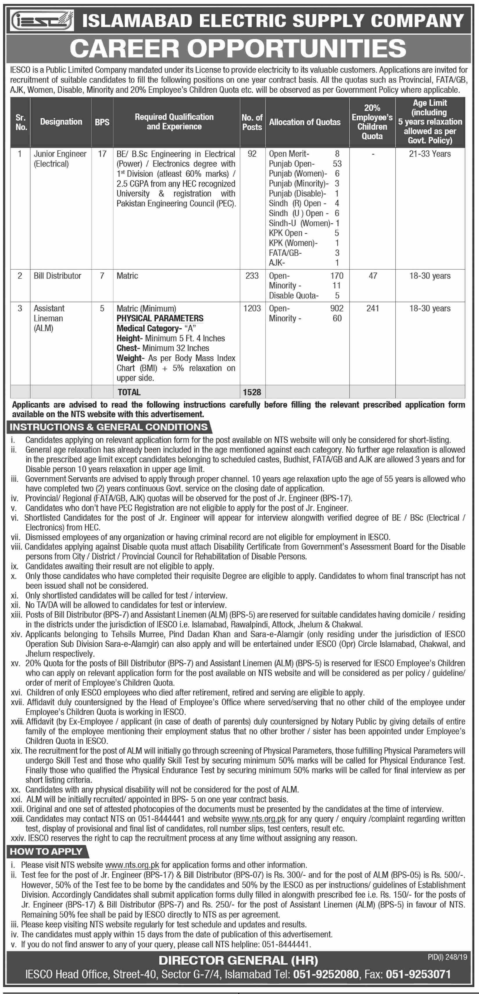 Islamabad Electric Supply Company IESCO Jobs 2019
