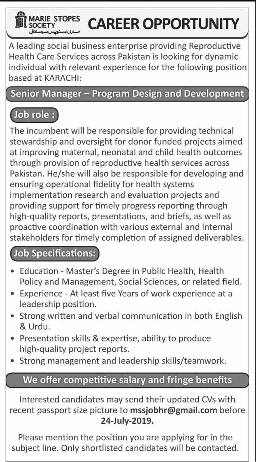 Marie Stopes Society MSS Jobs 2019 in Karachi