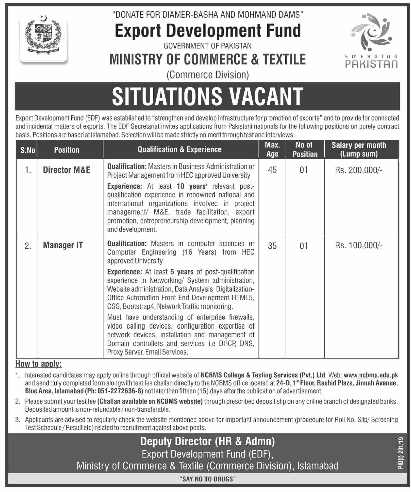 Ministry of Commerce & Textile  Jobs 2019 in Islamabad