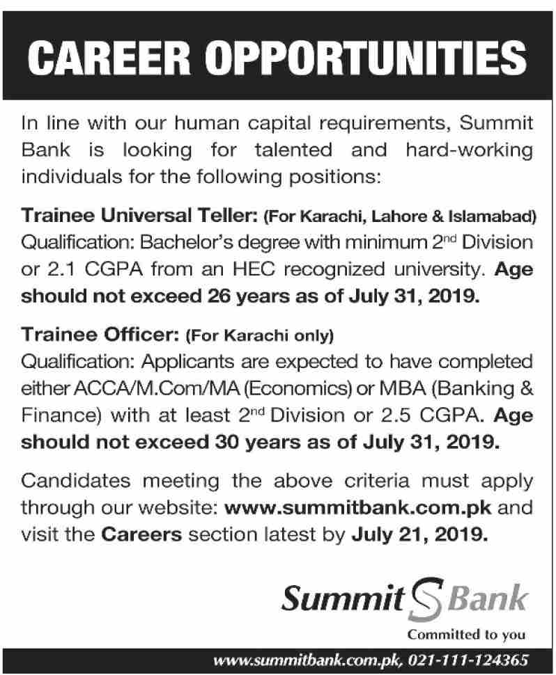 Summit Bank Jobs 2019 in Karachi