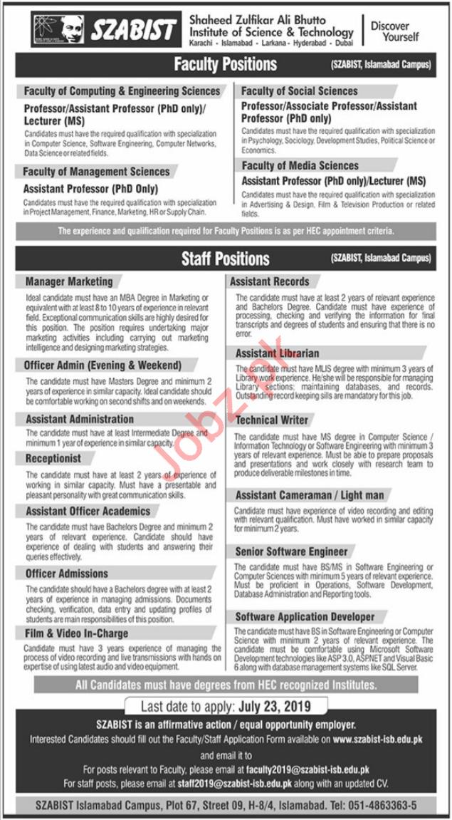 SZABIST Faculty & Non Faculty Jobs 2019 in Islamabad