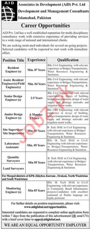 Associates in Development AiD Pvt Ltd Jobs 2019 in Islamabad