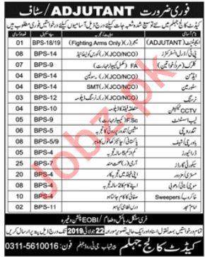 Pak Army Cadet College Jobs 2019 For Jhelum