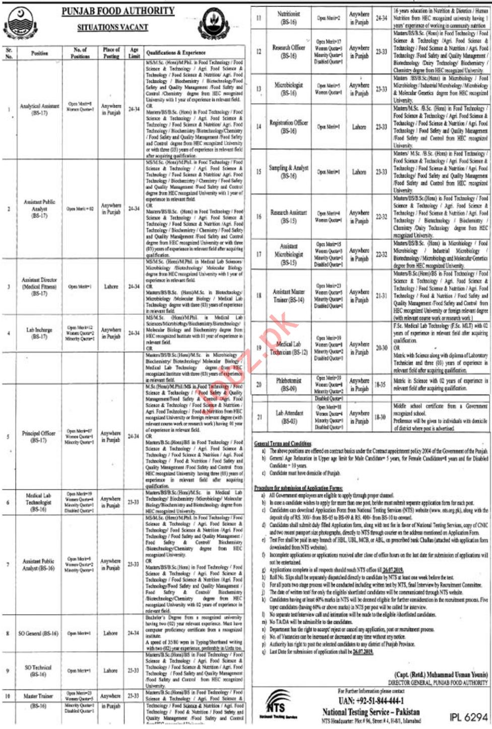 Punjab Food Authority PFA Jobs 2019 Through NTS