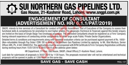 SNGPL Lahore Jobs for Potential Assessment Consultant