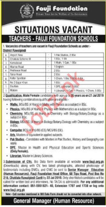Fauji Foundation Schools Teaching Jobs 2019 in Rawalpindi