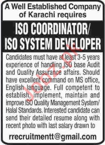ISO System Developer Jobs 2019 in Karachi