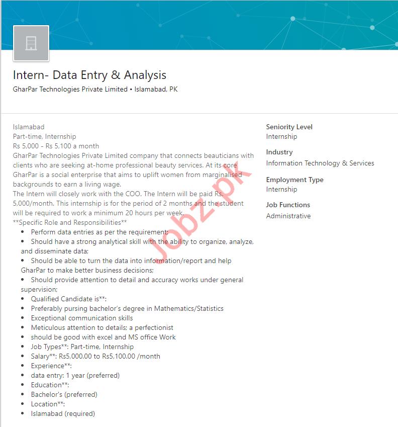 Data Entry Internee & Analysis Internee Jobs 2019
