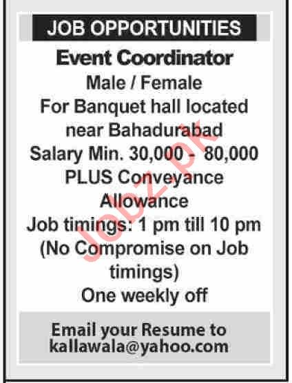 Event Coordinator Job in Karachi