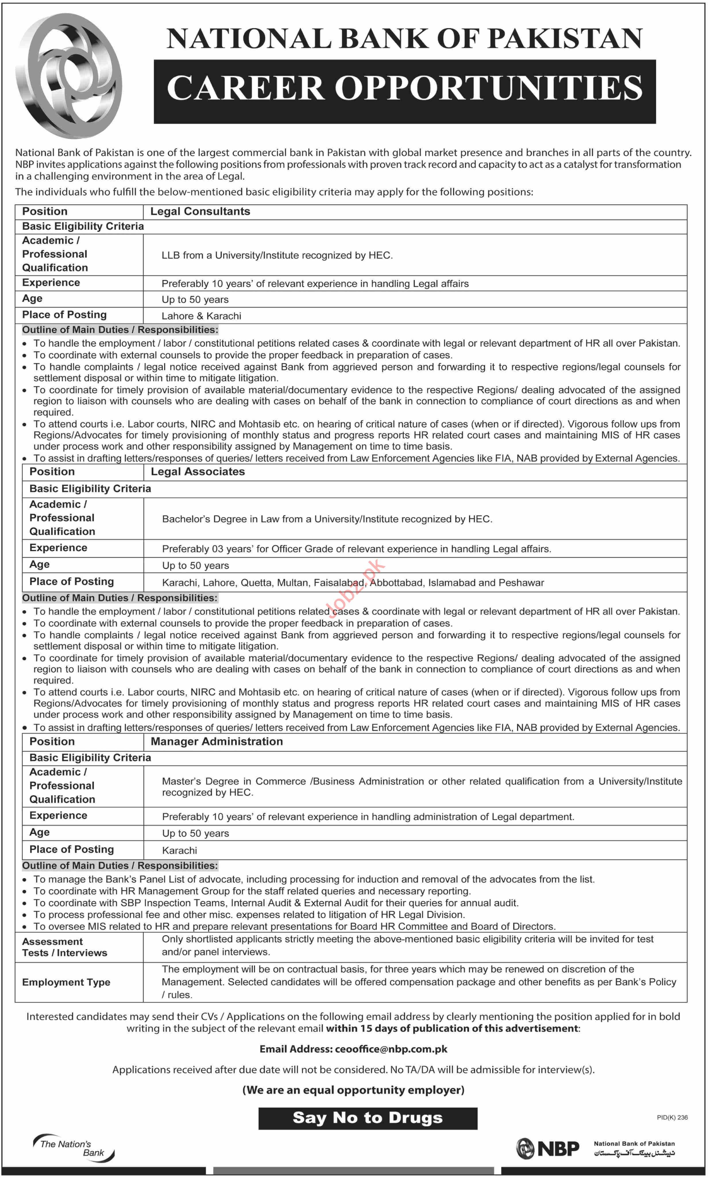National Bank of Pakistan NBP Jobs in Karachi