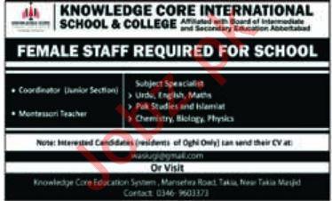 Knowledge Core International School & College Jobs 2019